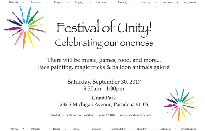 Festival of Unity – Saturday, September 30, 2017